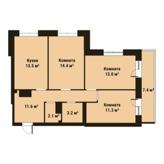 Планировка Трёхкомнатная квартира площадью 69.1 кв.м в ЖК «ПРАГМА city»