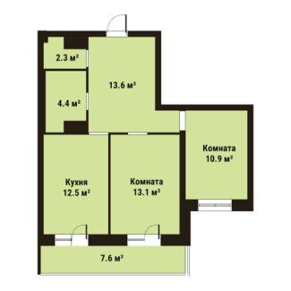 Планировка Двухкомнатная квартира площадью 56.8 кв.м в ЖК «ПРАГМА city»