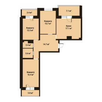 Планировка Трёхкомнатная квартира площадью 80.4 кв.м в ЖК «ПРАГМА city»