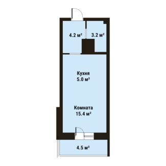Планировка Студия площадью 27.8 кв.м в ЖК «ПРАГМА city»